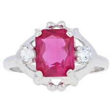 1.95ctw Rectangle Cut Synthetic Ruby & Synthetic White Sapphire Ring 10k Gold