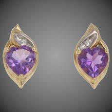 1.52ctw Heart Cut Amethyst & White Topaz Earrings -10k Yellow Gold Pierced Studs