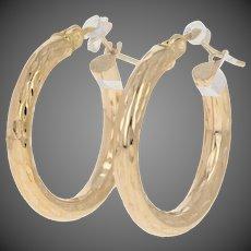 Textured Round Hoop Earrings - 14k Yellow Gold Textured Pierced