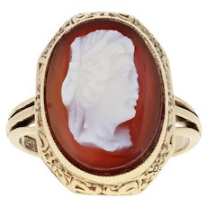 Carved Hardstone Cameo Edwardian Ring - 14k Yellow Gold Antique Floral