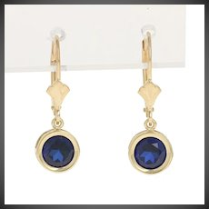2.00ctw Round Cut Synthetic Sapphire Earrings - 10k Yellow Gold Pierced Dangles