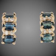 2.12ctw Oval Cut Sapphire & Diamond Earrings - 14k Gold Pierced Curved Drops