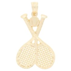 Etched Tennis Pendant - 14k Yellow Gold Sports Crossed Rackets & Tennis Ball
