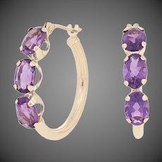 2.50ctw Oval Cut Amethyst Earrings - 10k Yellow Gold Pierced Hoops