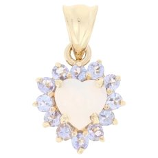 .88ctw Heart Cabochon Cut Opal & Tanzanite Pendant - 10k Yellow Gold Halo