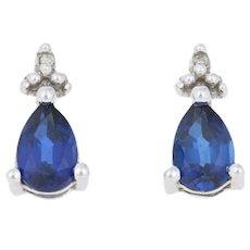 1.00ctw Pear Cut Synthetic Sapphire Earrings - 10k Gold w/Diamonds Pierced Studs