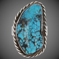 Turquoise Native American Ring - Sterling Silver Cocktail Solitaire