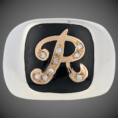 Diamond-Accented Initial R Ring - Sterling & Gold Inlay Black Enamel Signet