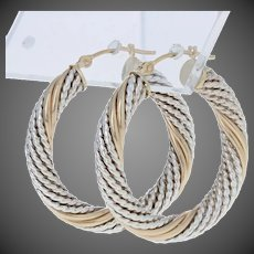 Textured Rope Twist Earrings - Sterling Silver & 14k Yellow Gold Pierced Hoops
