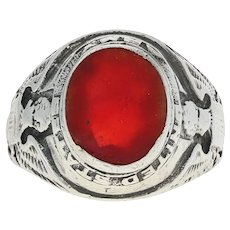 United States Army Ring - Sterling Silver Red Glass US Military Service