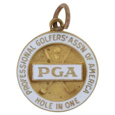PGA Hole in One Charm - Gold Filled Golfing Sports Pendant