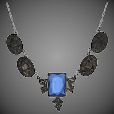 "Rectangle Cut Blue Glass Vintage Necklace 15"" - Silver Toned Flowers & Cranes"