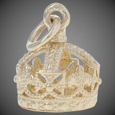 Crown Charm - 9k Yellow Gold Royalty Milgrain-Accented Pendant