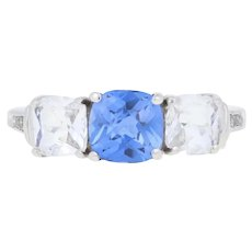 2.92ctw Synthetic Sapphire & Diamond Ring - 10k White Gold Women's