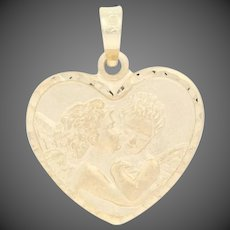 Kissing Cherubs Pendant - 10k Yellow Gold Heart Love Gift