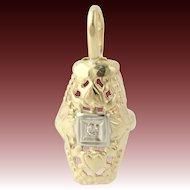 Two-Toned Gold Diamond Pendant - 14k Yellow & White Gold Vintage Genuine .02ctw