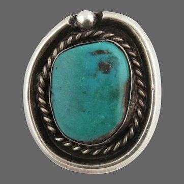 Native American Turquoise Ring - Sterling Silver Size 6.25 Vintage Estate Chunky