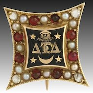 Delta Tau Delta Vintage Fraternity Badge Pin - 14k Gold Diamonds Pearls Garnets