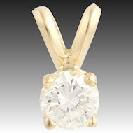 Diamond Solitaire Pendant - 14k Yellow Gold Women's .35ct Fine Estate Polished