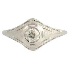 Art Deco Diamond Engagement Ring - 18k White Gold Solitaire Filigree .33ctw