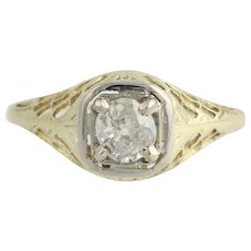 Vintage Diamond Engagement Ring - 14k Yellow & White Gold Filigree European