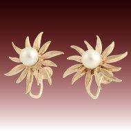 Pearl Flower Earrings - 14k Yellow Gold Daisy Cultured Screw On Non-Pierced