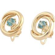 Blue Zircon Swirl Earrings - 14k Yellow Gold Non-Pierced Screw Oval 2.30ctw