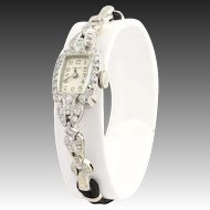 Art Deco Ladies Granat Watch- 900 Platinum 14k White Gold Diamonds Fine 1.08ctw