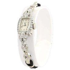 Art Deco Ladies Granat Watch- 900 Platinum 14k White Gold Diamonds Fine 1.08ctw