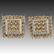 Diamond Stud Earrings - 10k White & Rose Gold Fancy Brown Pierced Fine 2.00ctw