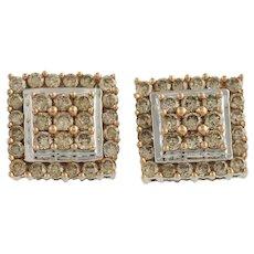 Diamond Stud Earrings - 10k White & Rose Gold Fancy Brown Pierced Fine 2.00ctw