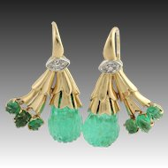 Art Deco Emerald & Diamond Drop Earrings - 14k Yellow and White Gold Approx .48ctw
