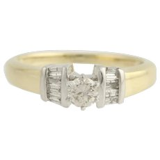 Diamond Engagement Ring - 14k Yellow & White Gold Size 6 1/2 Genuine .40ctw Unique Engagement Ring