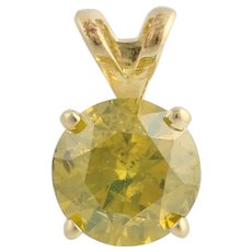 Diamond Solitaire Pendant - 14k Yellow Gold Color Enhanced Genuine .75ctw