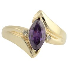 Purple Cubic Zirconia & Gemstone Bypass Ring - 10k Yellow Gold 6 1/4 Fashion CZ