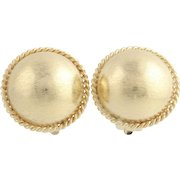Textured Gold Stud Earrings - 14k Yellow Gold Polished Non-Pierced Clip-On