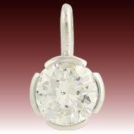 Diamond Pendant - 14k White Gold Solitaire Anniversary Fine Gift Genuine .96ctw
