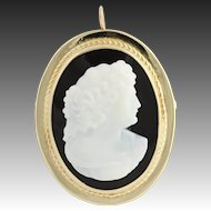 Vintage Carved Agate Cameo Brooch / Pendant - 14k Yellow Gold Silhouette Pin