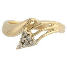 Diamond Bypass Ring - 14k Yellow & White Gold Women's Size 6 3/4 Genuine .12ctw