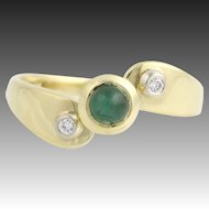 Emerald and Diamond Bypass Ring - 18k Yellow & White Gold Genuine .23ctw