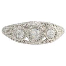 Diamonique Cubic Zirconia Cocktail Ring - 14k White Gold Old Mine Cut Fashion CZ