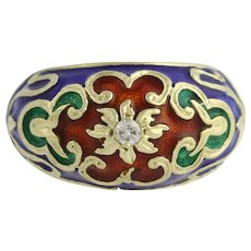 Ornate Floral Enamel Ring - 14k Yellow Gold Diamond-Accented Genuine .08ctw