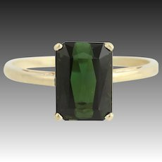Tourmaline Solitaire Ring - 14k Yellow Gold Women's Size 11 1/2 Genuine 6.37ctw