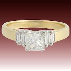 Diamond Engagement Ring - 18k Yellow Gold & Platinum Princess Genuine 1.10ctw