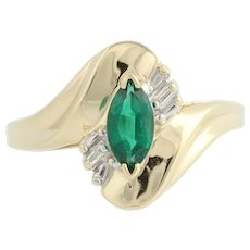 Synthetic Emerald & Diamond Bypass Ring - 10k Yellow & White Gold Fine .62ctw