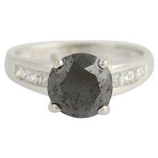 Black & White Diamond Ring - 14k White Gold Women's Size 6 3/4 Fine 3.75ctw