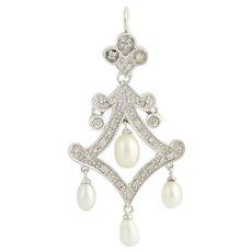 Freshwater Pearl & Diamond Drop Pendant - 10k White Gold .10ctw