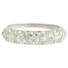 Retro Diamond Wedding Band -900 Platinum Five-Stone Transitional Cut Ring .81ctw