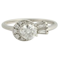 Vintage Diamond Engagement Ring & Wedding Band - 14k White Gold .78ctw