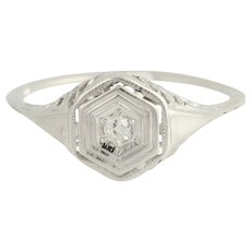 Art Deco Diamond Ring - 10k White Gold Old Mine Cut Vintage .05ct